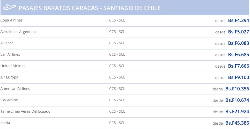 vuelos a chile desde caracas en bolivares