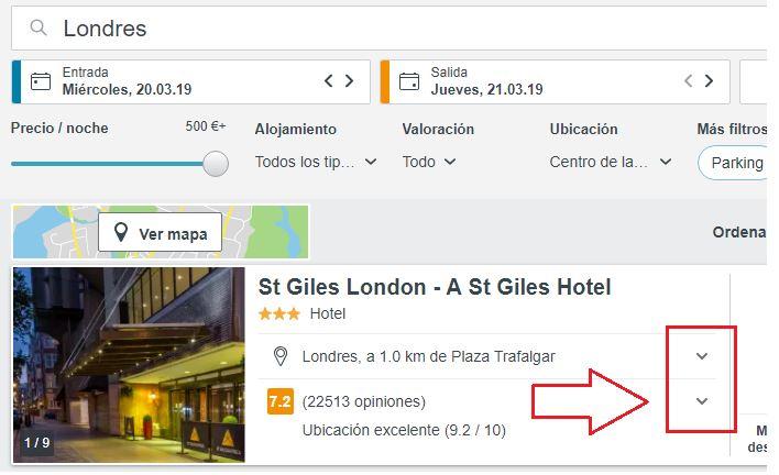 encontrar información de un hotel trivago