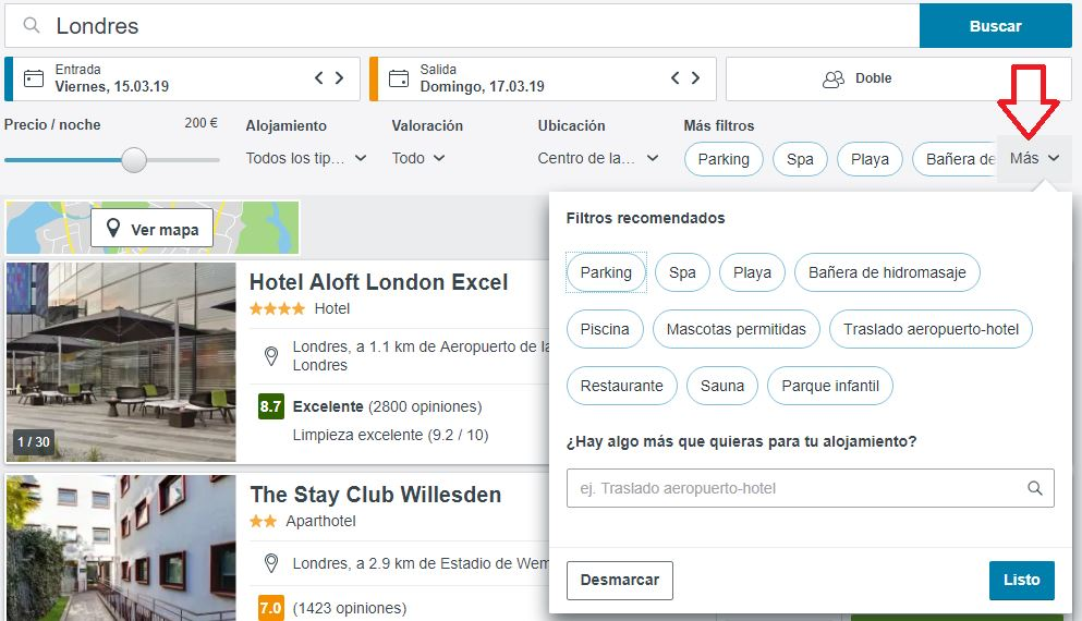 filtro trivago hoteles con servicios