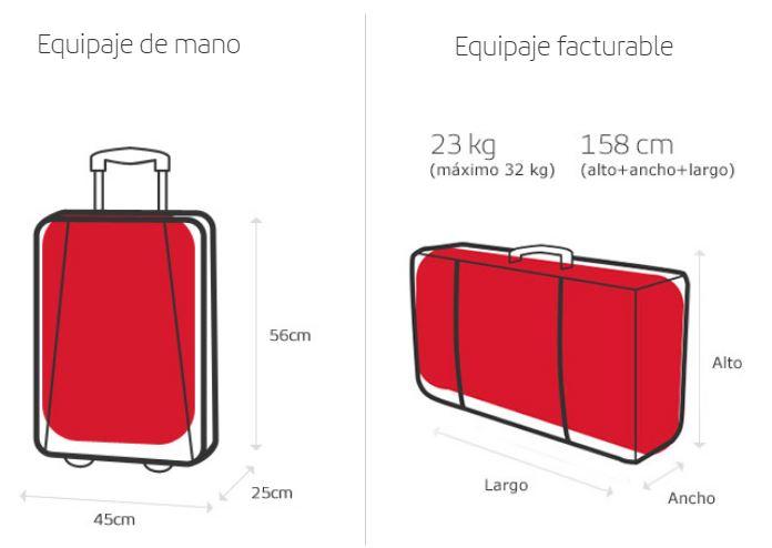 medidas y peso equipaje vuelos