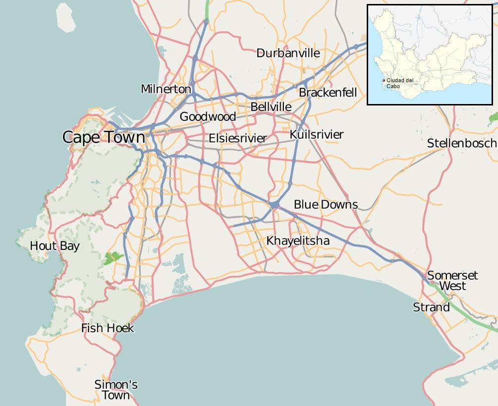mapa barrios ciudad del cabo